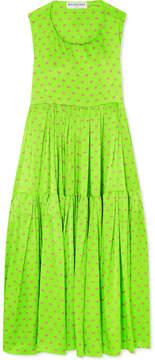 Balenciaga Apron Open-back Printed Silk-satin Jacquard Dress - Green