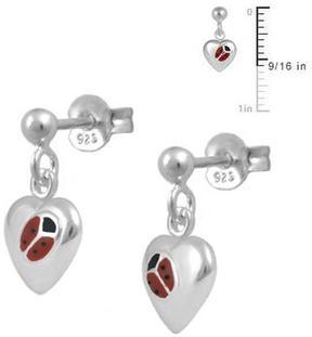 Ice Girls' Sterling Silver Red Enameled Ladybug Heart Dangling Earrings