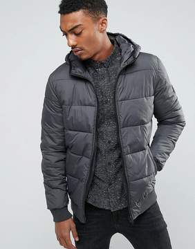 Solid Padded Jacket With Hood