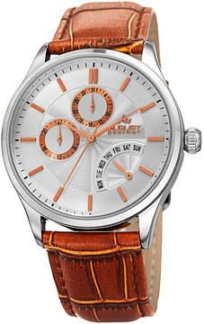 August Steiner Mens Brown Strap Watch-As-8209ssbr