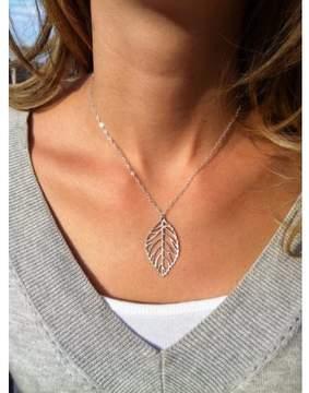 Alpha A A Silver Tone 20 Flat Leaf Charm Necklace