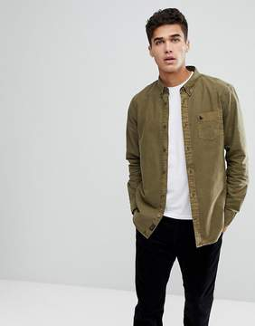 Jack Wills Atley Garment Dyed Lightweight Oxford Shirt In Olive