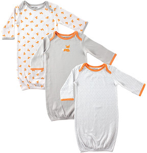 Luvable Friends Gray & Orange Fox Gown Set - Newborn