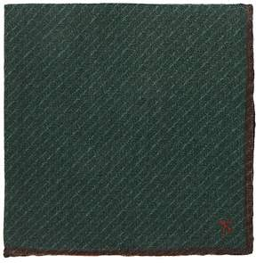 Isaia Men's Striped Virgin Wool-Yak Pocket Square