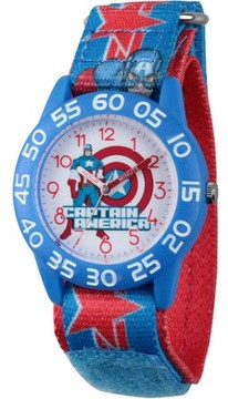 Marvel Marvel's Avengers Assemble Captain America Boys' Blue Plastic Time Teacher Watch, Blue and Red Hook and Loop Captain America Stretchy Nylon Strap