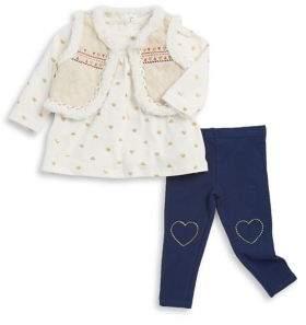 Little Me Baby's Three-Piece Faux Fur-Trim Vest, Top and Leggings Set