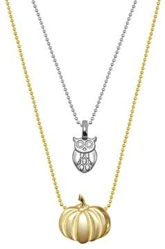 Alex Woo Sterling Silver & 14K Gold Mini Owl & Pumpkin Necklace - Set of 2