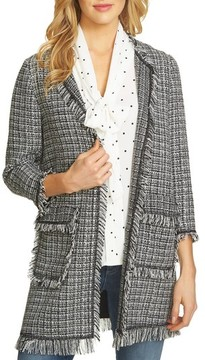 CeCe Women's Frayed Tweed Jacket