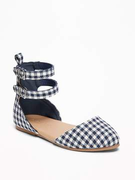 Old Navy Gingham-Print Double-Strap D'Orsay Flats for Toddler Girls