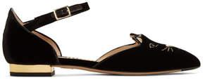 Charlotte Olympia Black Velvet Mid-Century Kitty DOrsay Flats