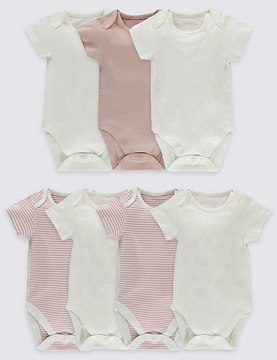 Marks and Spencer 7 Pack Pure Cotton Short Sleeve Bodysuits