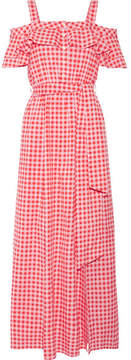 Draper James Dolly Cold-shoulder Gingham Cotton And Silk-blend Maxi Dress - Pink