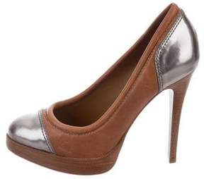 Tory Burch Leather Metallic-Trimmed Pumps