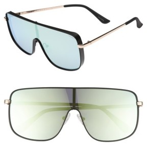 Quay Women's #quayxkylie Unbothered 68Mm Shield Sunglasses - Black/ Mint