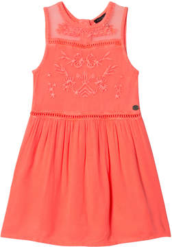 Ikks Pink Fluo Embroidered Sleeveless Dress