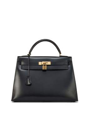Hermes Vintage Box Kelly 32 Leather Satchel Bag, Black - BLACK - STYLE