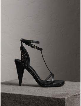 Burberry Riveted Leather High Cone-heel Sandals