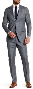 Michael Bastian Gray Glenplaid Two Button Notch Lapel Wool Extra-Trim Fit Suit