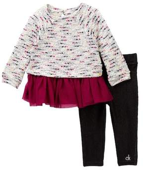 Calvin Klein Boucle Tunic with Tulle Bottom & Jegging Set (Little Girls)