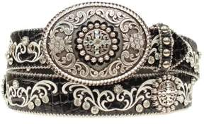 Ariat Western Belt Womens Scroll Rhinestone Conchos XL Black A1512801