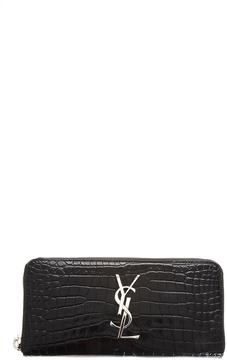 Saint Laurent Monogram Zip Around Wallet In Crocodile Embossed Leather - BLACK - STYLE
