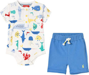 Joules Cream All Over Sea Time Print Body Suit and Blue Shorts Set