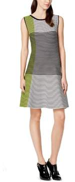 Vince Camuto Women's Colorblocked Striped Knit Sweater Dress (L, Lime)