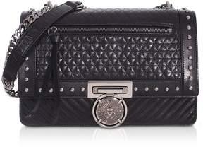 Balmain Black Studded Leather Biker BBox 25 Shoulder Bag