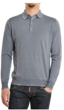 H953 Men's Grey Silk Polo Shirt.