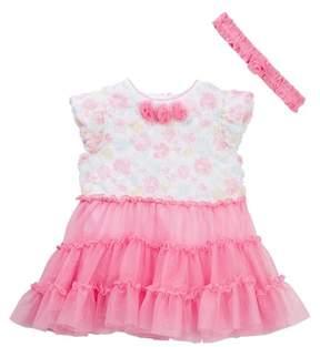Little Me Floral Rosette Tutu Bodysuit & Headband Set (Baby Girls)