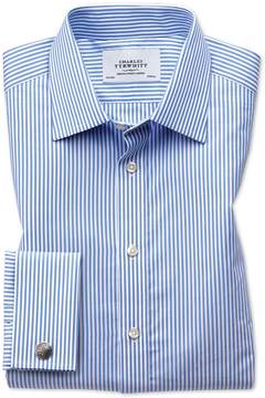 Charles Tyrwhitt Extra Slim Fit Bengal Stripe Sky Blue Cotton Dress Shirt French Cuff Size 14.5/32