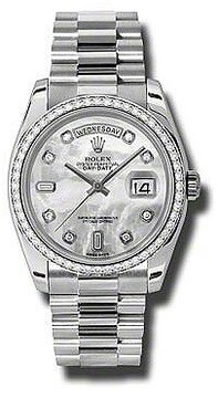 Rolex Day-Date Mother Of Pearl Dial Platinum President Automatic Ladies Watch