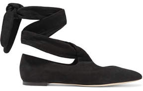 The Row Elodie Lace-up Suede Ballet Flats - Black