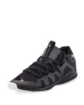 adidas by Stella McCartney CrazyTrain Bounce Mid-Top Fabric Trainer Sneaker, Black