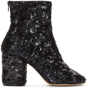 Maison Margiela Black Sequin Sock Boots