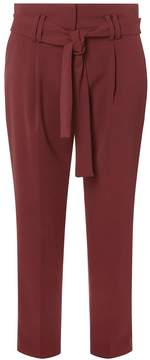 Dorothy Perkins Burgundy High Waist Tie Tapered Leg Trousers