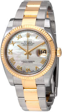 Rolex Oyster Perpetual Datejust 36 Mother of Pearl Dial Stainless Steel and 18K Yellow Gold Bracelet Automatic Men's Watch