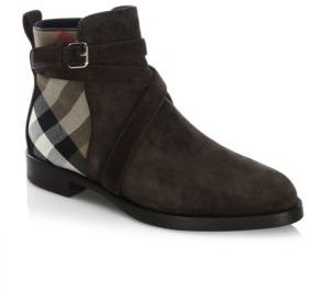 Burberry Vaughan Checked Leather Boots
