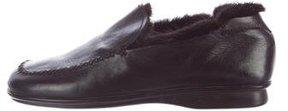 Prada Fur-Lined Square-Toe Loafers