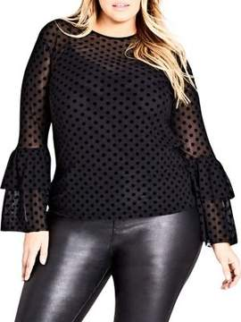 City Chic Plus Polka-Dot Tiered-Sleeve Top