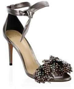Alexandre Birman Clarita Metallic & Mesh Bow Leather Ankle Strap Sandals