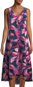 Joan Vass Mitered High-Low Floral-Print Dress