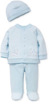 Little Me 3-Pc. Cotton Striped Hat, Puppy Shirt & Footed Pants Set, Baby Boys (0-24 months)