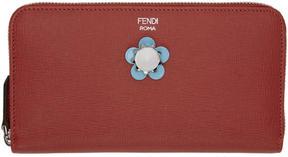 Fendi Red Flowerland Zip Around Wallet