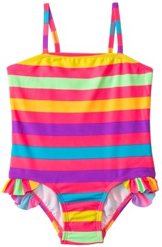 KensieGirl Rainbow Fever Stripe Ruffle Leg One Piece (2T4T) - 8129702