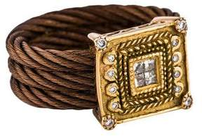 Charriol Two-Tone Diamond Square Station Cable Ring