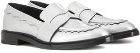 Christopher Kane Pointy metallic leather penny loafer
