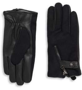 Y-3 Deerskin & Wool Zip Gloves