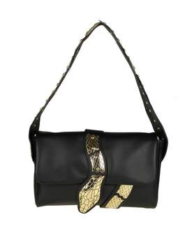 RED Valentino Shoulder Bag In Black Leather With Snake Detail
