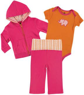 Luvable Friends Orange & Pink Elephant Hoodie Set - Infant